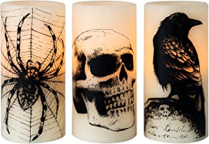 Eldnacele Halloween Flickering Candles with Skull, Spider Web, Crow Raven Decals Set of 3 Battery Operated Real Wax Candles with Timer Halloween Themed LED Candles Horror Spooky Decoration (D3