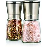 Set de deux élégants moulins à sel et poivre avec support - Taille de grain réglable - Obtenez du sel, du poivre ou d'autres épices fraîchement moulues grâce à ce set salière / poivrière en acier brossé et verre.