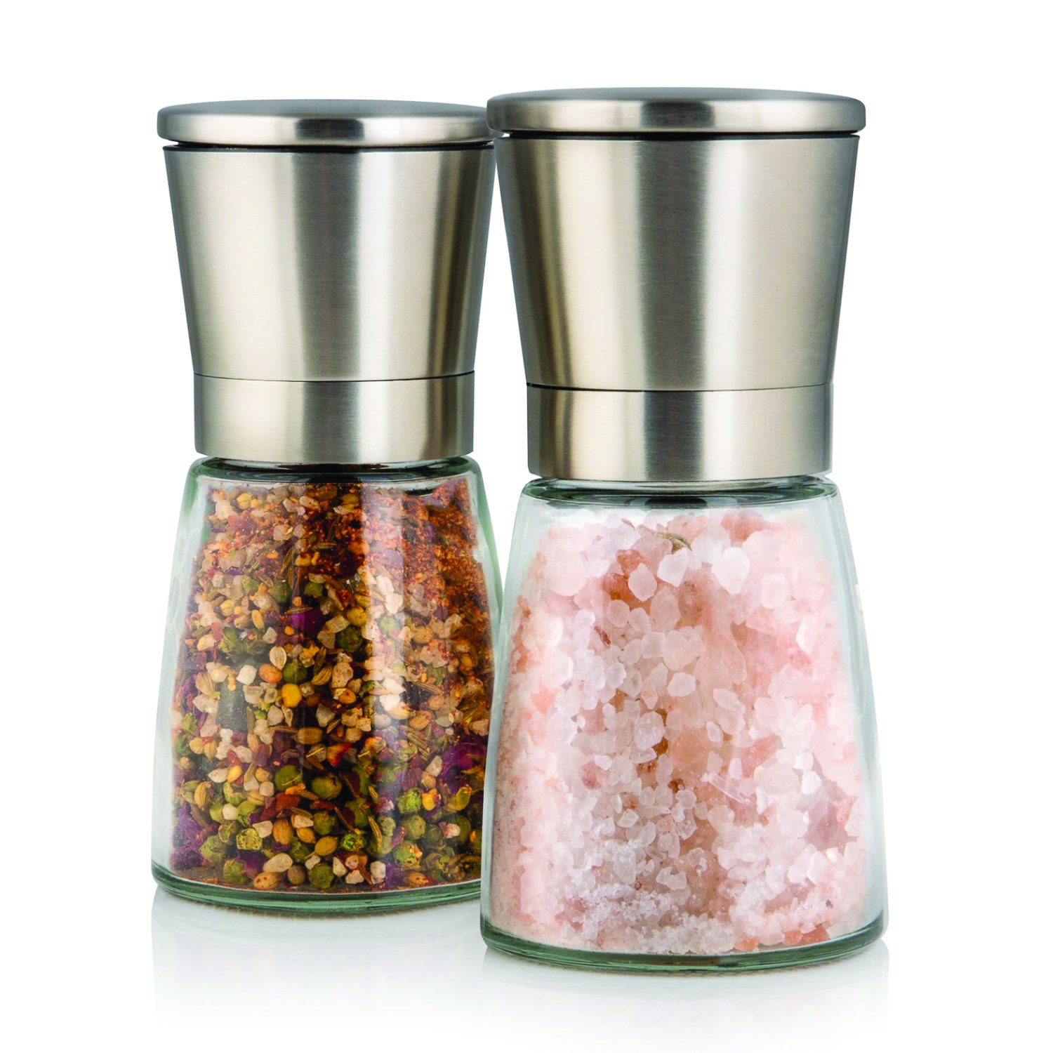 Elegant Salt and Pepper Grinder Set with Matching Stand - Stunning Glass Body with Adjustable Ceramic Grinder - Premium Pair of Salt & Peppercorn Mills - Brushed Stainless Steel Salt and Pepper Shakers - Set of 2 Twinz Products TW-GR-2