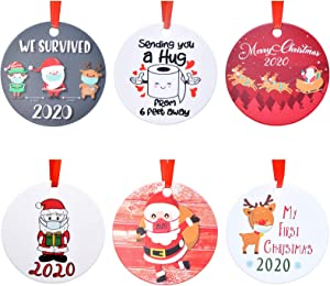 Aileam 2020 Christmas Ornament, Xmas Tree Hanging Decoration My First Christmas Cute Elk Santa Claus with Mask 4 inch Holiday Christmas Family & Friends Gift-6Pack