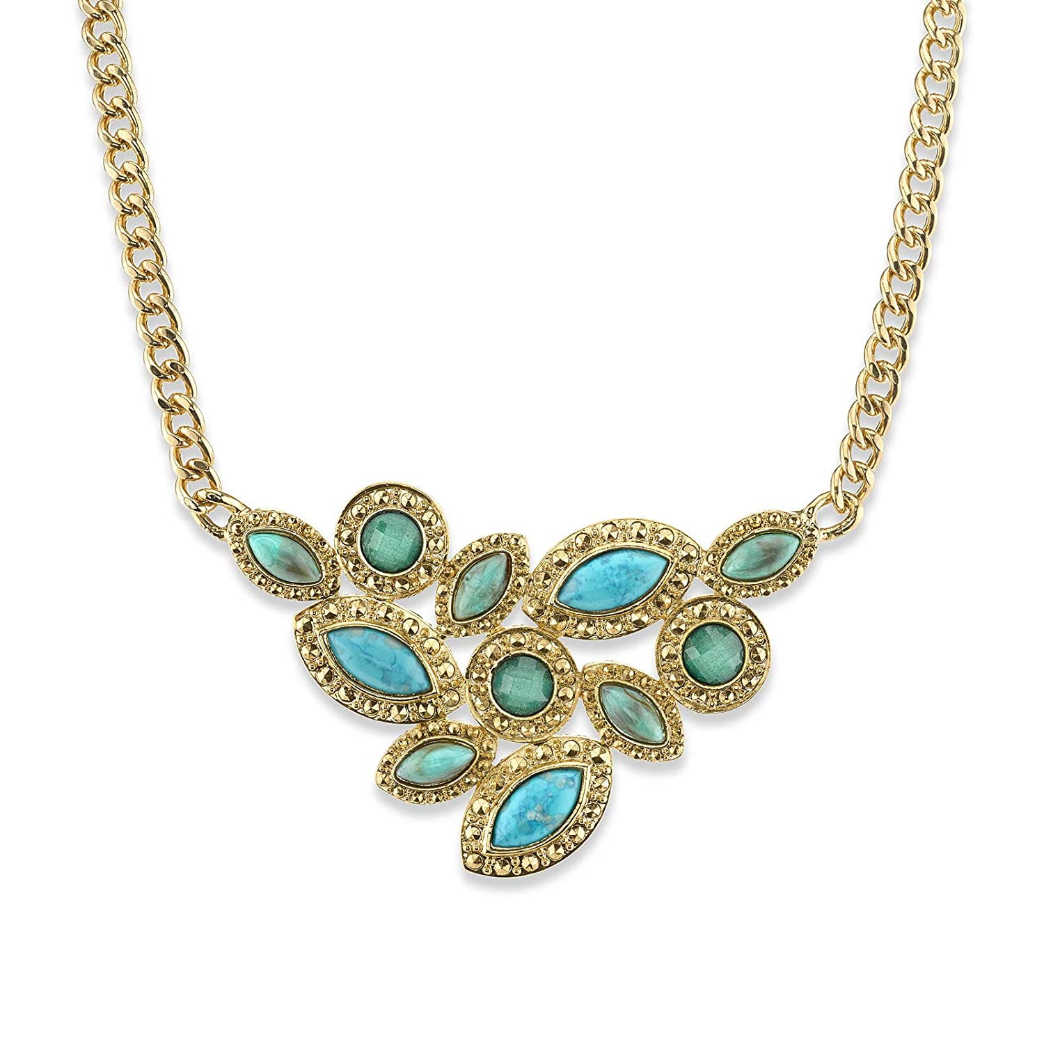 1928 Jewelry Gold-Tone Green and Turquoise Color Cluster Front Necklace 16/Ä Adj.