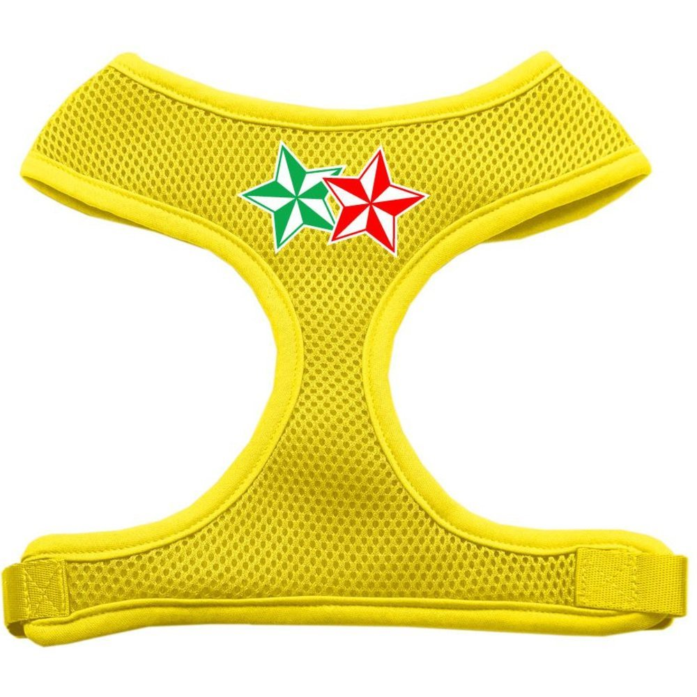 Mirage Pet Products Double Holiday Star Screen Print Mesh Dog Harnesses, X-Large, Yellow