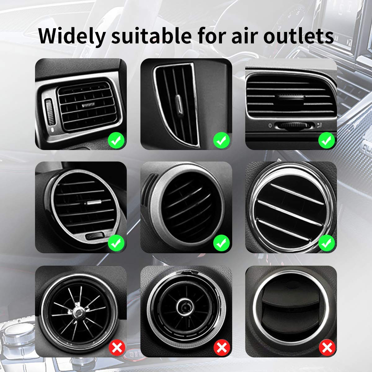 10W Fast Wireless Charger Car Mount Air Vent Gravity Design Phone Holder Compatible iPhone X//XS//XR Galaxy S9//S9+ All Qi Devices Uniounp Black 1 Wireless Car Charger