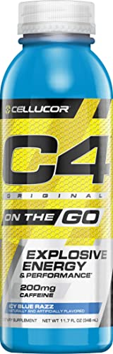 Cellucor C4 On The Go Explosive Energy Pre-workout Supplement, Icy Blue Razz, 12 Count