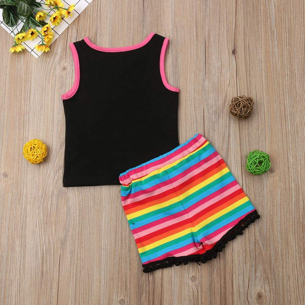Infant Toddler Girls Summer Outfits Sets 0-3 Years Old Sleeveless Rianbow Tops Vest Stripe Tassels Short Pants