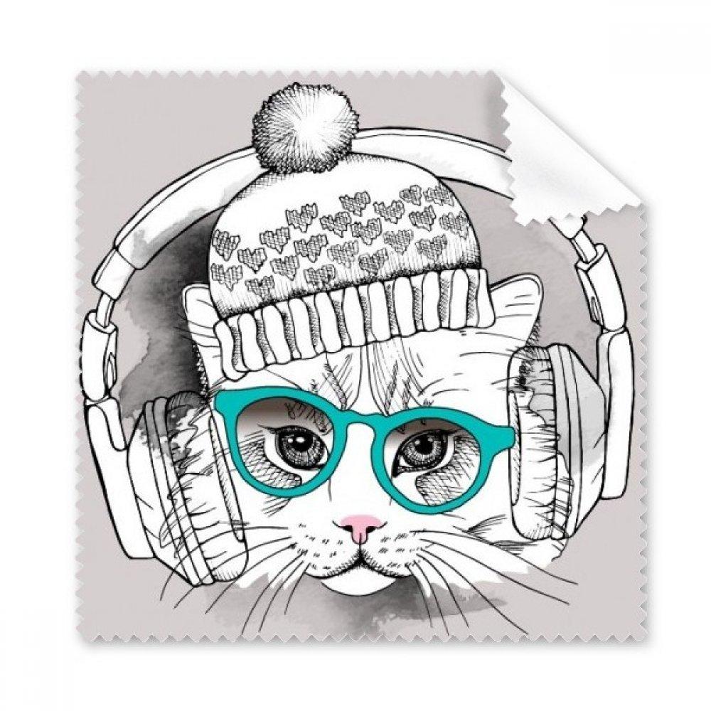 ヘッドセットウール帽子ホワイトCat保護動物ペットLoverメガネ布クリーニングクロスギフト電話画面クリーナー5点   B072JC9Z7G