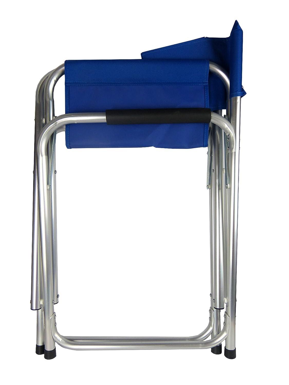 Hyfive 1 Paquete DE Aluminio Azul DIRECTORES Silla Plegable con Brazos Camping Pesca