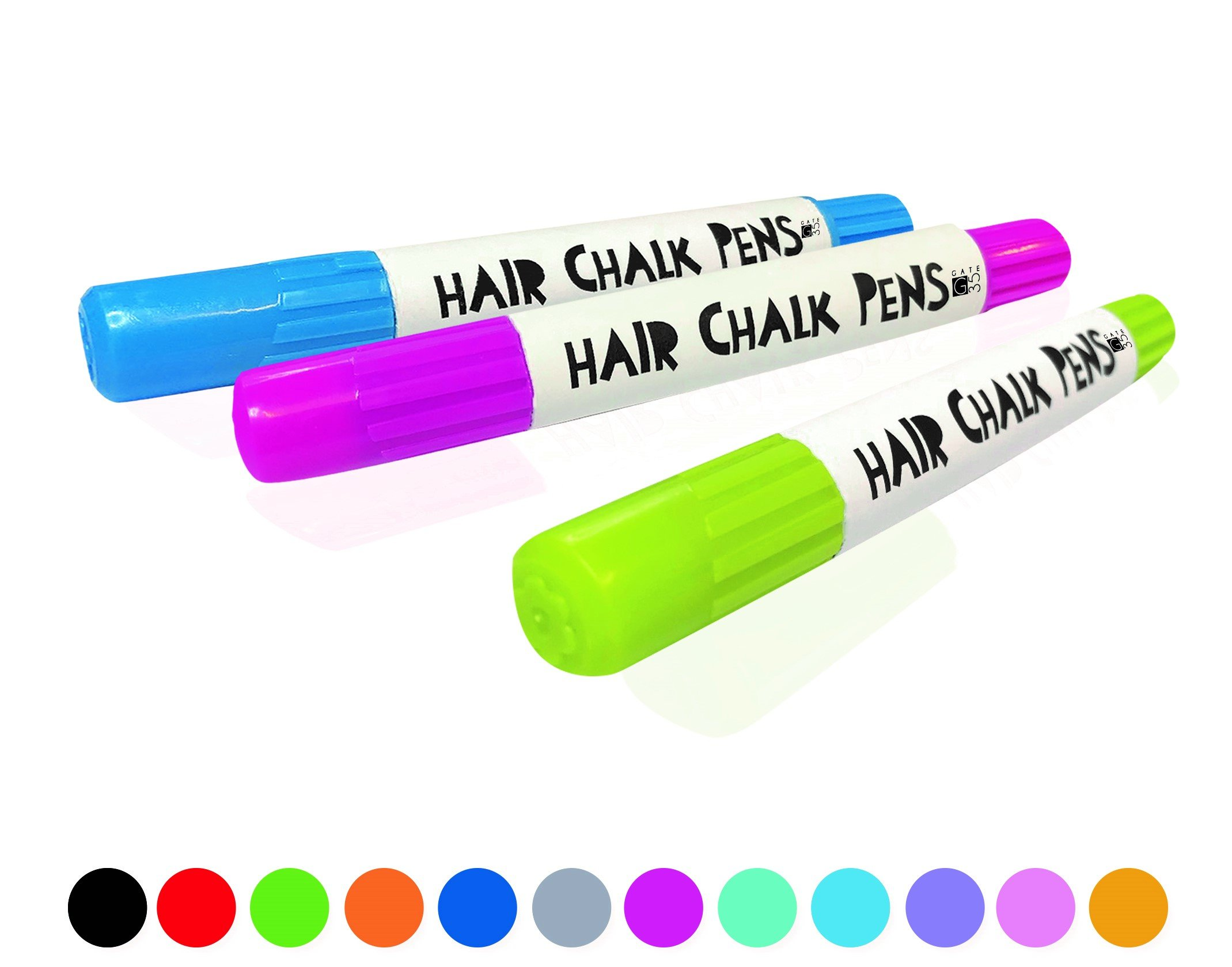 Hair Chalk Pens and Glitters - 12 Chalks and 4 Glitters - Deluxe Set 5