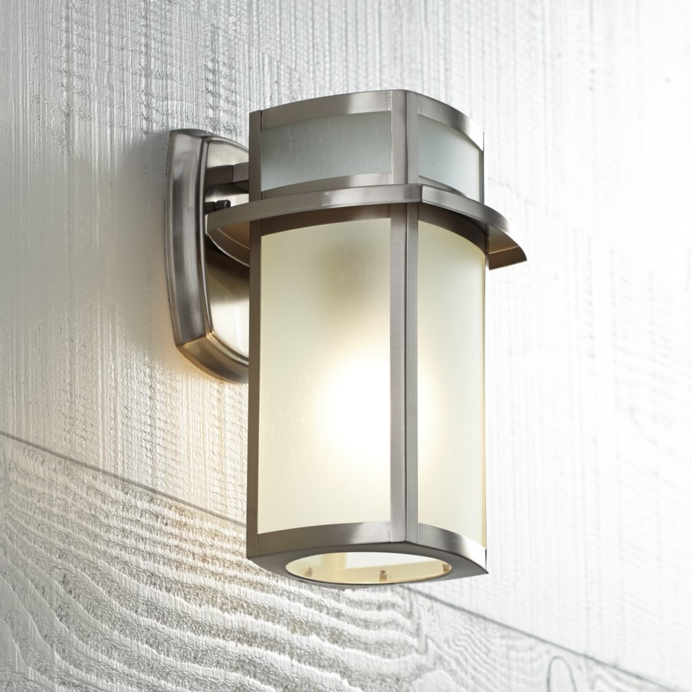 Brushed nickel frosted glass 11 14 high outdoor wall light wall brushed nickel frosted glass 11 14 high outdoor wall light wall porch lights amazon arubaitofo Images