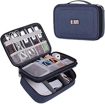 BUBM Estuche para Eléctricas Organizador de Accesesorio Bolsa de Viaje para Cables Cargador,Gadget de Memoria USB Bolsillo para iPad Mini(Mediado, Azul): Amazon.es: Electrónica