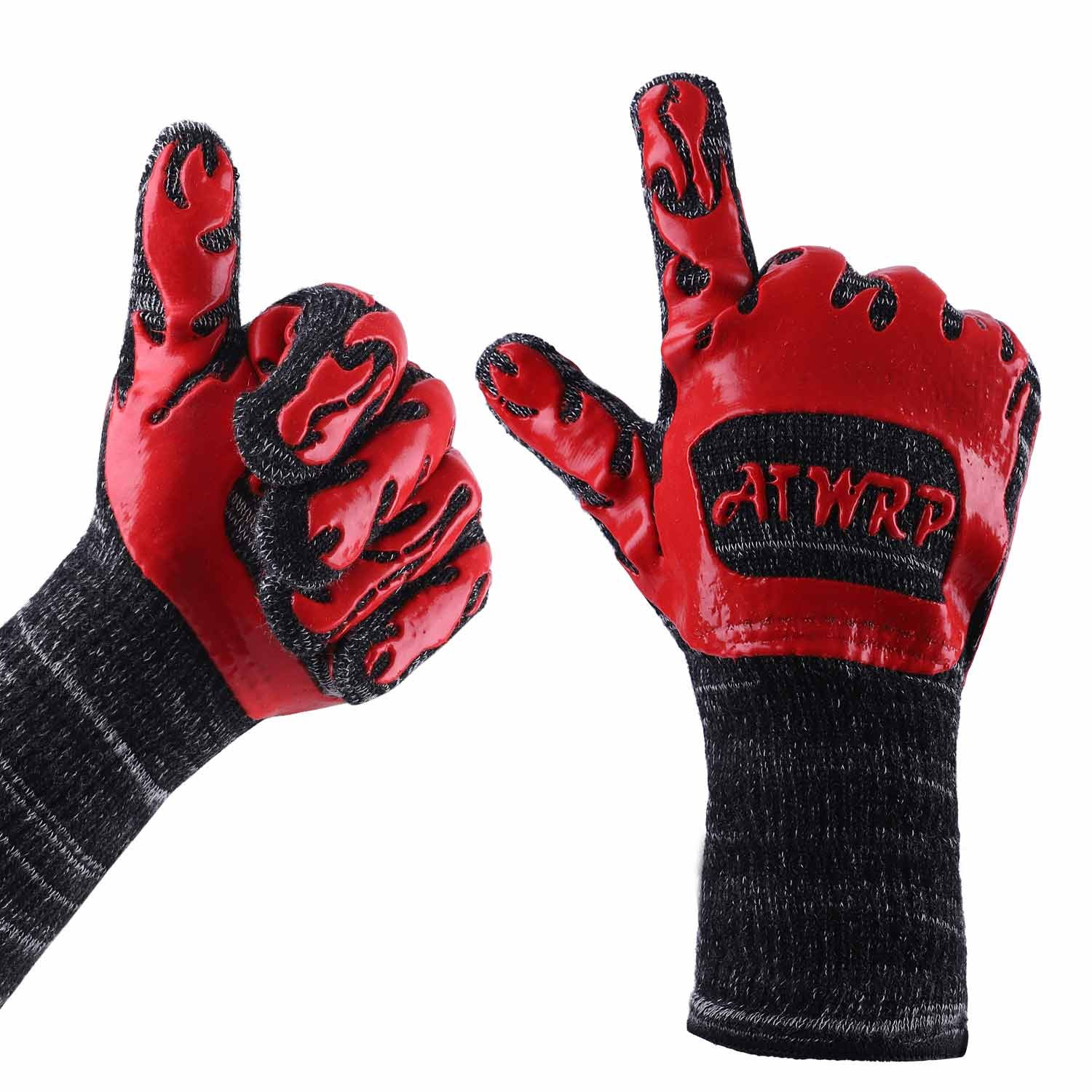 ATWRP FIREPROOF 932°F Extreme Heat Resistant BBQ Gloves by for Cooking Grilling Barbecue Charcoal Grill Smoker Tools Hot Ovens with Fingers Double Layered by ATWRP (Image #2)