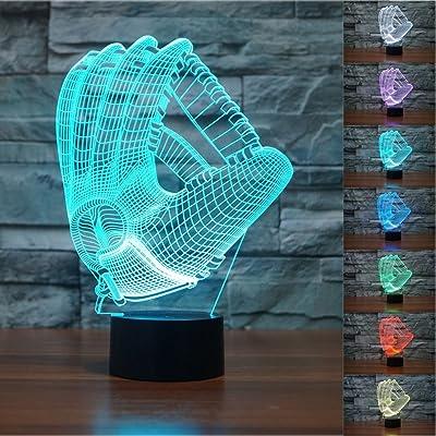 SUPERNIUDB 3D Baseball Gloves Visual Night Light Acrylic 3D LED USB 7 Color Change LED Table Lamp Xmas Toy Gift: Baby