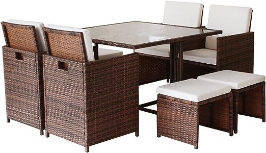 9 piezas al aire libre Cube ratán muebles de jardín de mimbre, ratán mesa y sillas: Amazon.es: Jardín