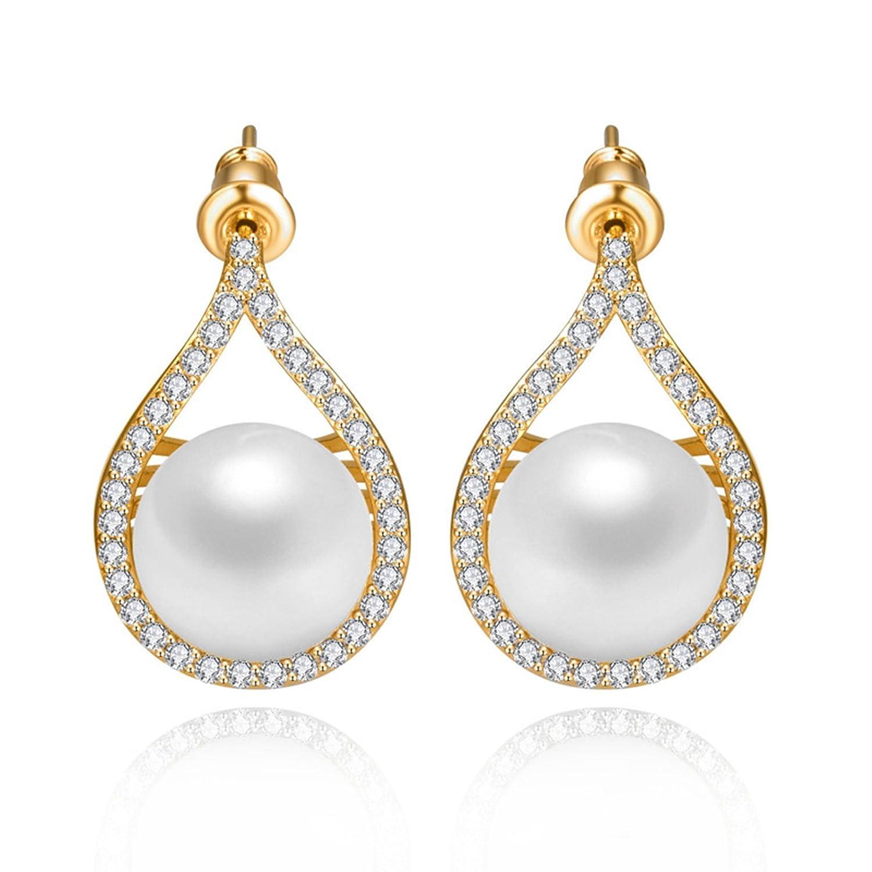 Beydodo Teardrop Earrings Champagne Wedding Earrings Cubic Zirconia Teardrop Round Cut Cubic Zirconia