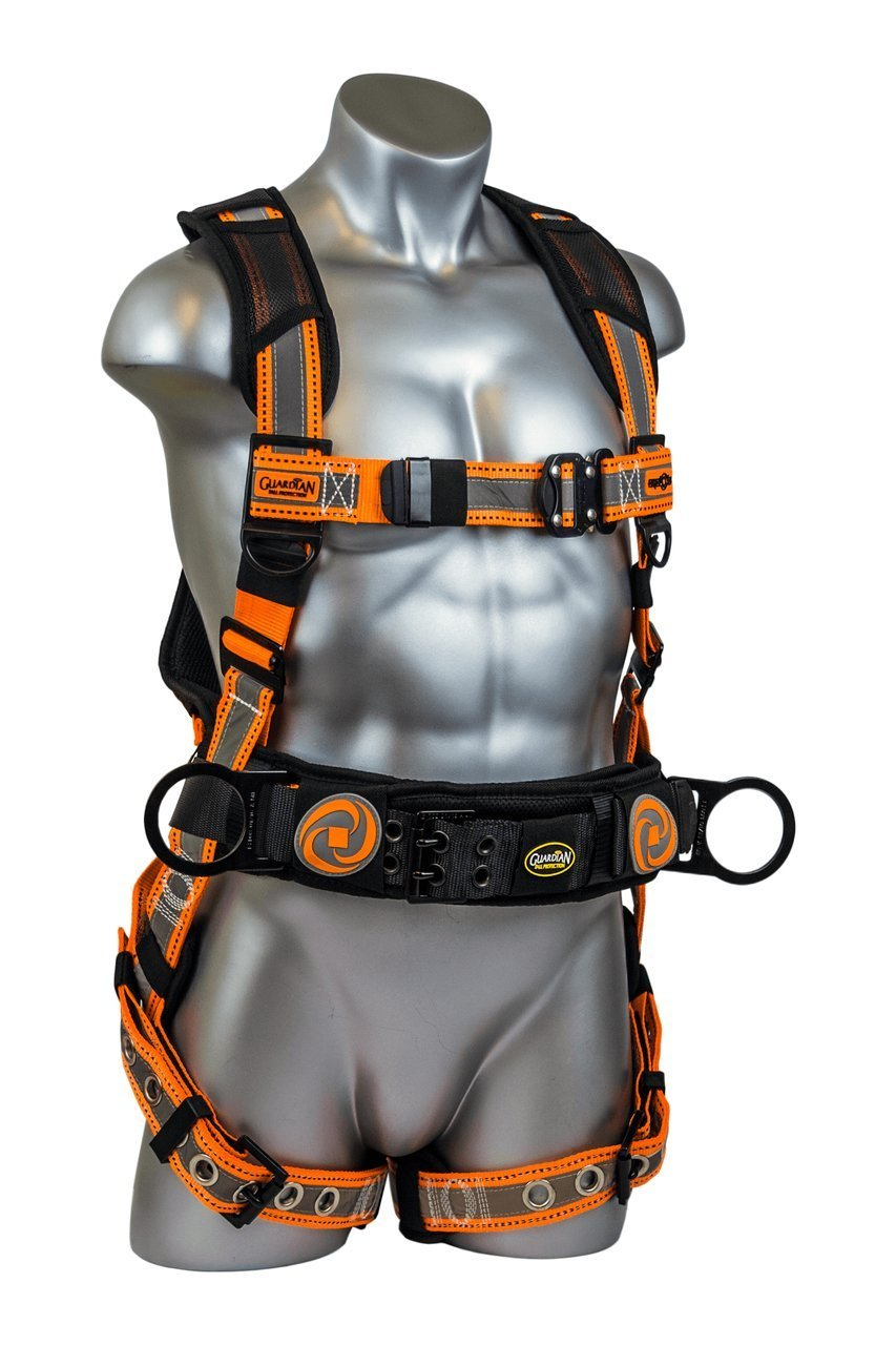 Guardian Fall Protection 21061 Cyclone Construction Harness Black/Orange, sewn-on Silver Reflective Webbing, QC Chest, TB Waist, TB Legs, Size M-L