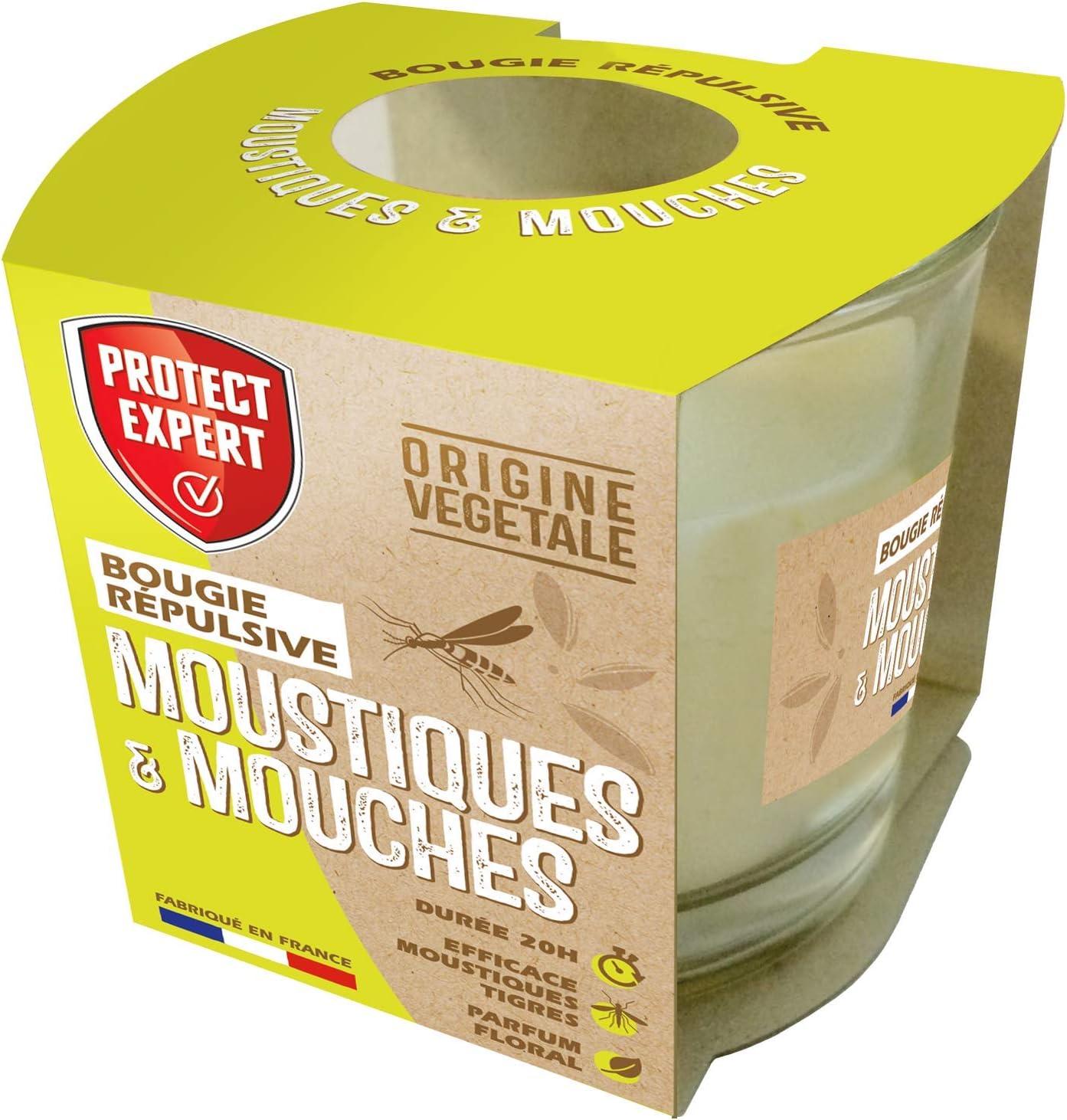 PROTECT EXPERT BOUGNAT Mosquitos y Moscas geraniol Vela Repelente 90 g Duración 20 h Perfume Floral, Fabricado en Francia