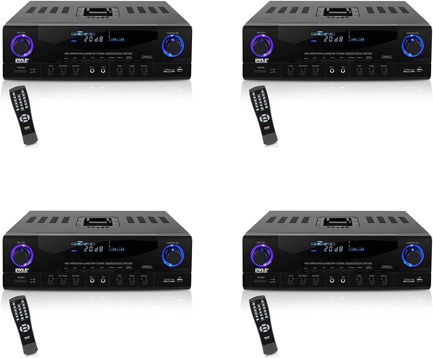 Pyle PT4601AIU 500 Watt 2 Channel Multi Device Compatible Home Theater Sound System Power Stereo Amplifier Receiver with AM/FM Radio, (4 Pack)