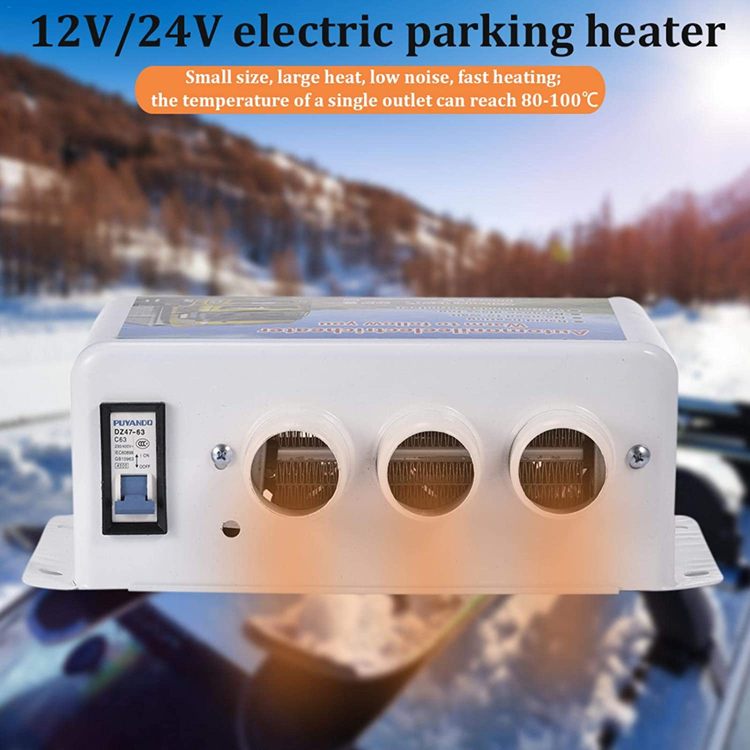 Portable Car Heater Car Heater Defogger,12//24V Universal 3 Hole Car SUV Truck Heating Heater Window Defroster Demister,Quiet Fast Heating Overheat Protection Air Circulating,12V//24V