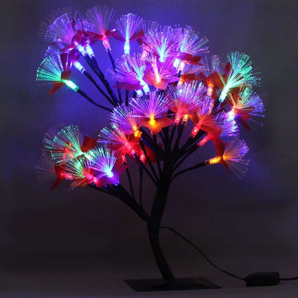 MHOLFB 15.75 Inch 40 LED Cherry Blossom Tree Branches Light Optical Fiber Desk Bonsai Table lamp Night Light Decoration for Kid's Bedside Home Festival Party Wedding Christmas (Multicolor)