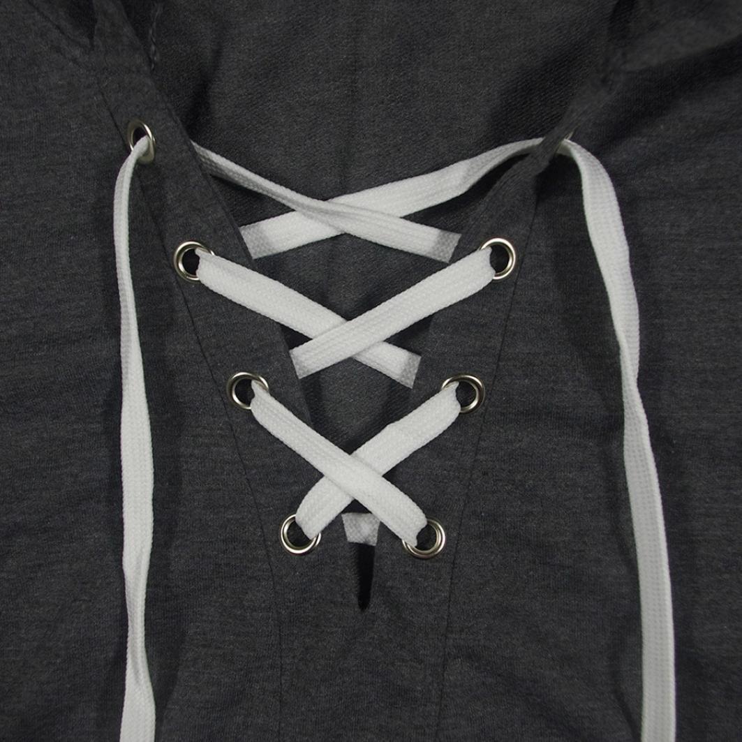 Amlaiworld Sweatshirts Herbst Damen Warm Kurz Sweatshirt Band Locker Freizeit Kapuzenpullover Freizeit V-Ausschnitt Mode Pulli /…