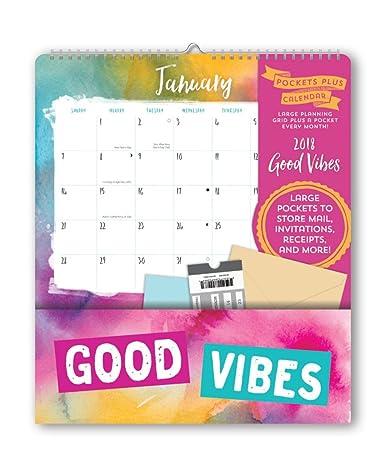 Orange circle studio 2018 pockets plus wall calendar good vibes