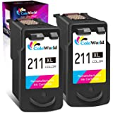 ColoWorld Remanufactured Ink Cartridges Replacement for Canon 211XL CL-211 (2 Tri-Color) Use in Pixma MP495 MX410 MX340 MP250