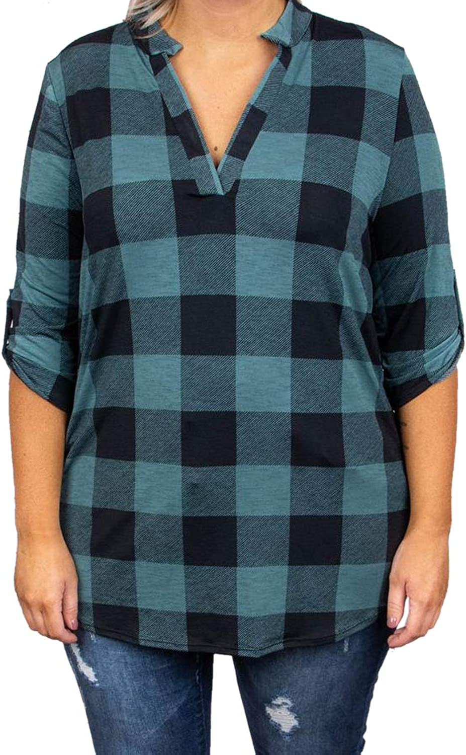 Womens Plus Size Plaid Shirts Casual V Neck 3//4 Sleeve Tunic Tops Checked Cuffed Blouse