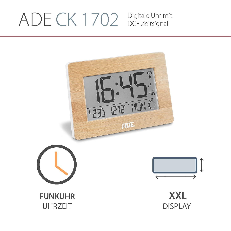 Amazonde ADE Funkuhr CK 1702 Digitale Uhr Mit DCF Zeitsignal Gehause Echtem Bambus