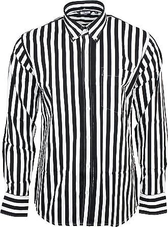 Relco Mens Black y Rayas Blancas Manga Larga con Botones 100% Camisa de Algodón: Amazon.es: Ropa y accesorios
