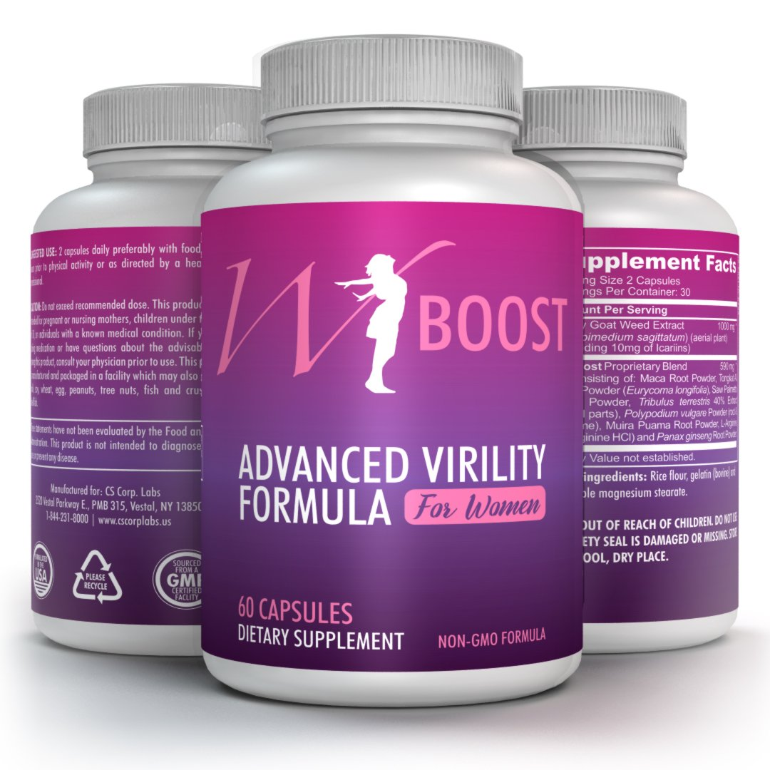 Female Libido Enhancer - W-Boost USA Non GMO Formulation For Women - Horny Goat Weed, L-Arginine and Maca Root - Support Blood Flow Booster - Overall Well Being 180 Tabs (3 Bottles)