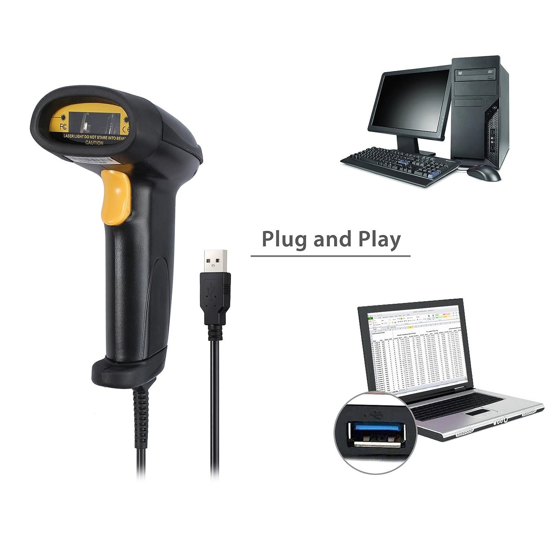 20eedff59bad5 Neoteck Lector de Código de Barras USB Escáner de Código Largo Alcance Alta  Velocidad Pistola de Escaneo Láser POS con Soporte Ajustable Manos Libres  ...