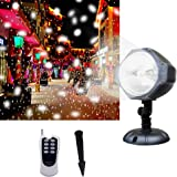 Projector Light [Wide Coverage Version] White Led Snowflake Auto Moving Indoor Outdoor Christmas Light Projector, Snow-fall Light Show with Remote Rotating Projection Light Party Decoration