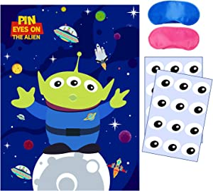 Toy Inspired Story Party Supplies, Pin Eyes On The Alien Party Games, Large Poster 24PCS Reusable Eye Stickers for Toy Inspired Story Theme Birthday Baby Shower Party Favors Decorations