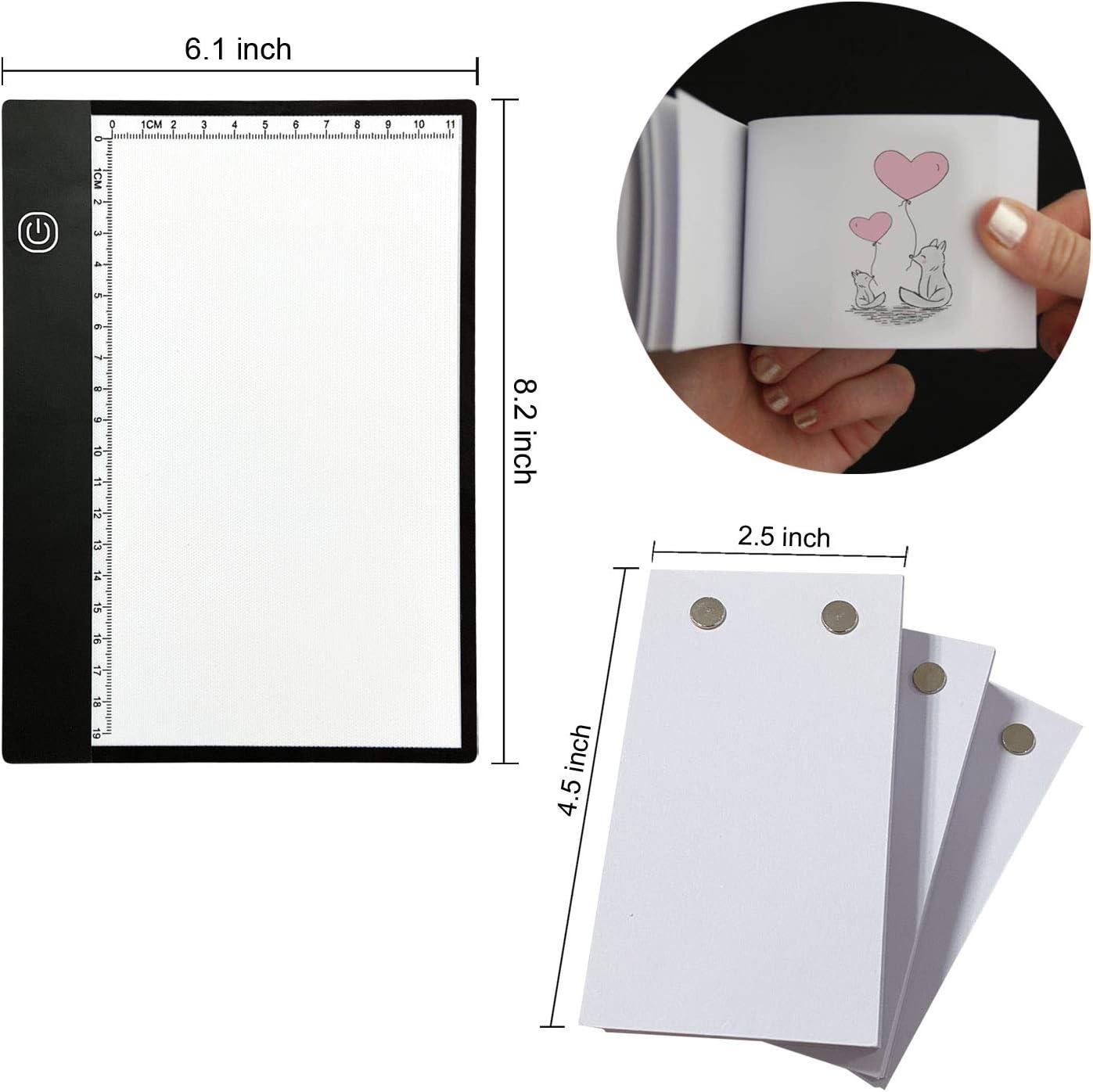 papel de animaci/ón de 270 hojas con tornillos extra/íbles y caja de luz LED para trazado y dibujo kit de libro plegable caja de luz A5 alimentada por USB con atenuaci/ón continua y regla