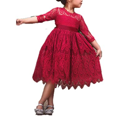 dd995134a Amazon.com  Girls Christmas Flower Lace Embroidery Dress Kids ...