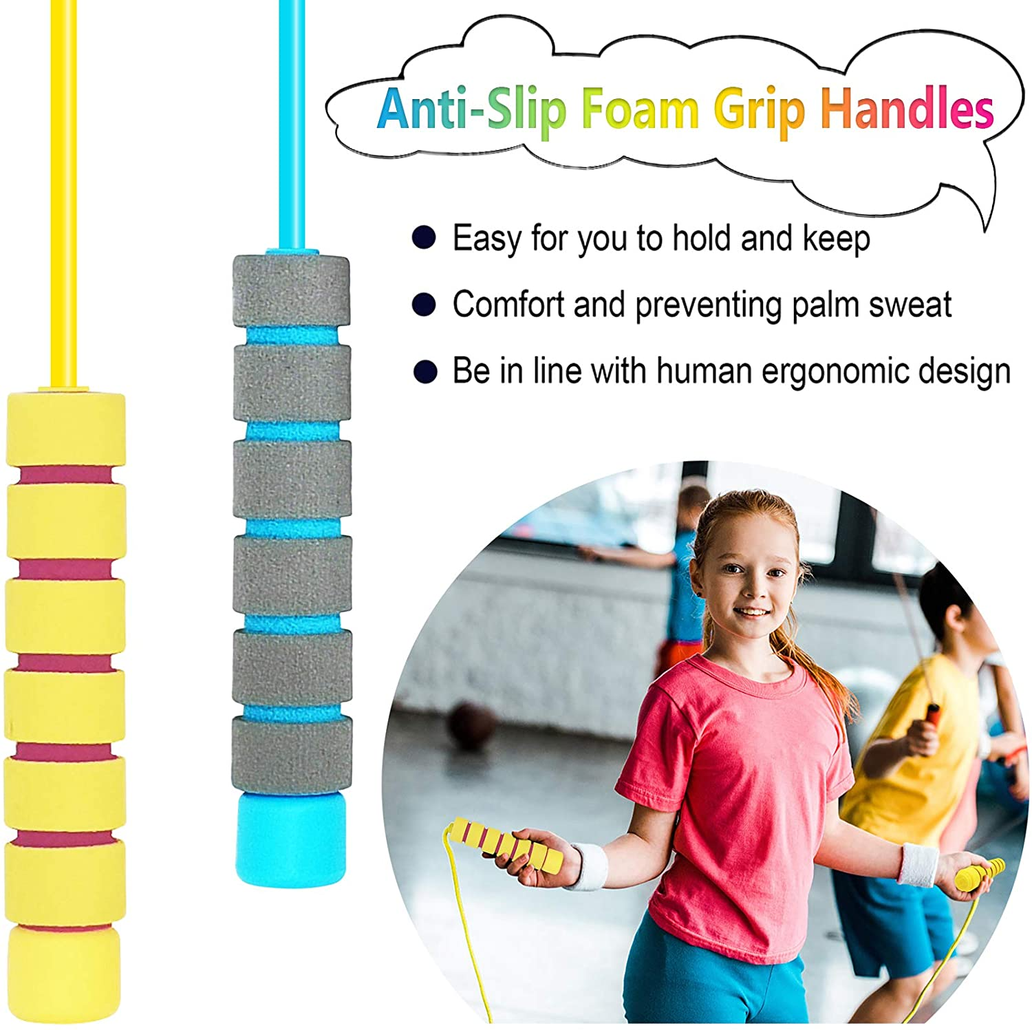 Exercise Memory Foam Antiskid Handles Skipping Rope for Boys and Grils Workout Keeping Fit and Weight Loss BILIGILA Jump Rope for Kids Adjustable Jump Ropes