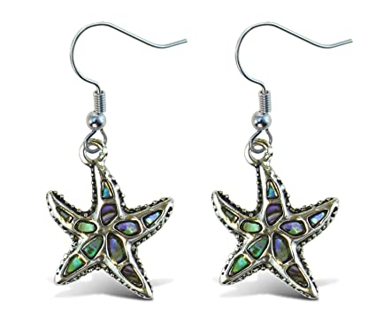 dbf056362 Puzzled Multi-Colored Starfish Dangle Post Fish Hook Drop Earrings, 1.35  Inch Fashionable Sparkling