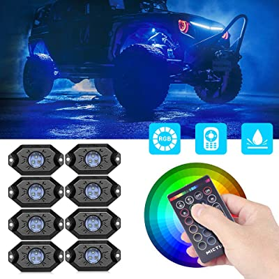MICTUNING RGB Rock Lights with RF Remote Control Multicolor Neon Underglow LED Lighting Kit - 8 Pods: Automotive