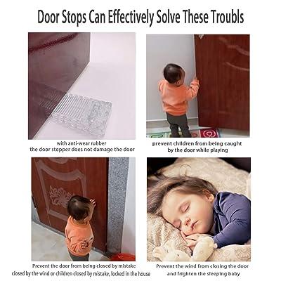Door Stopper 4 Packs,Home Premium Slip-Resistant Non-Toxic Rubber Wedge Stopper for House Bedroom Office Doors