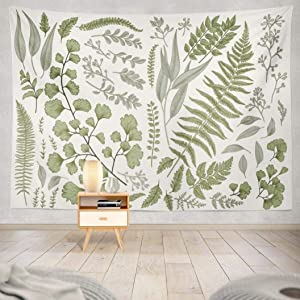 Kayel Botanical Polyester Fabric Tapestry Floral with Green White Spring Wall Hanging Tapestry,Daily Decorative Tapestry for Bedroom Living Room Dorm 60L x 80W Inches,Green Eucalyptus