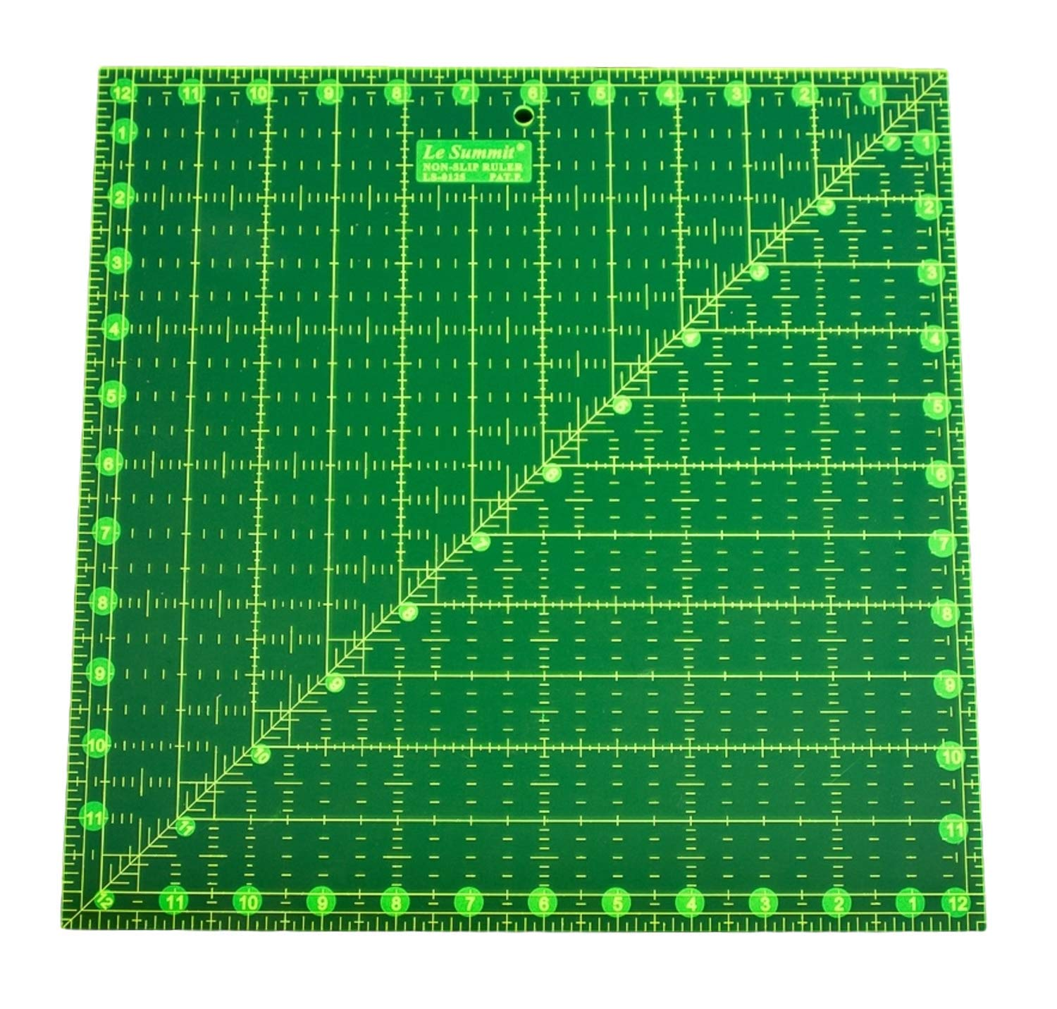 Non-Slip Quilting Ruler Fluorescent Neon Patchwork Ruler - 12.5'' x 12.5'' Quilters Ruler