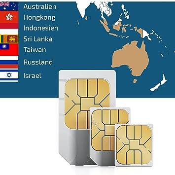 Carte Russie Australie.Carte Sim Internet Asie 7 Pays 1go De Donnees 30 Jours Australie Hongkong Indonesie Israel Russie Sri Lanka Taiwan