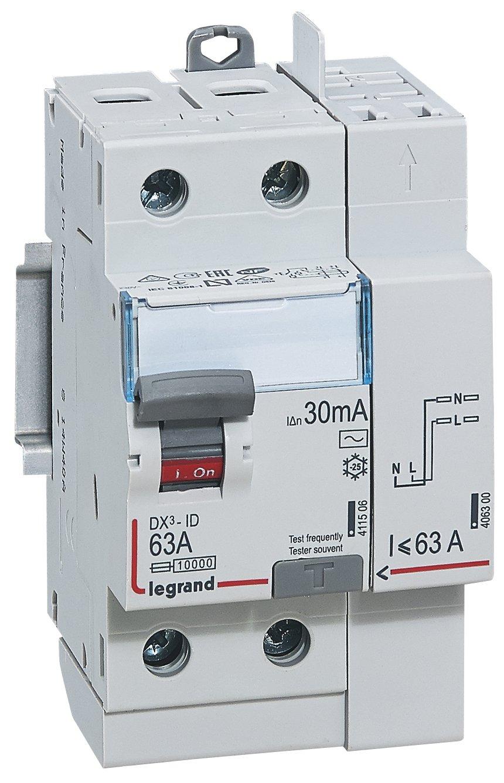 Legrand LEG92897 DX3-ID Disjoncteur diff/érentiel 2P 63 A Type AC 30 mA TGA