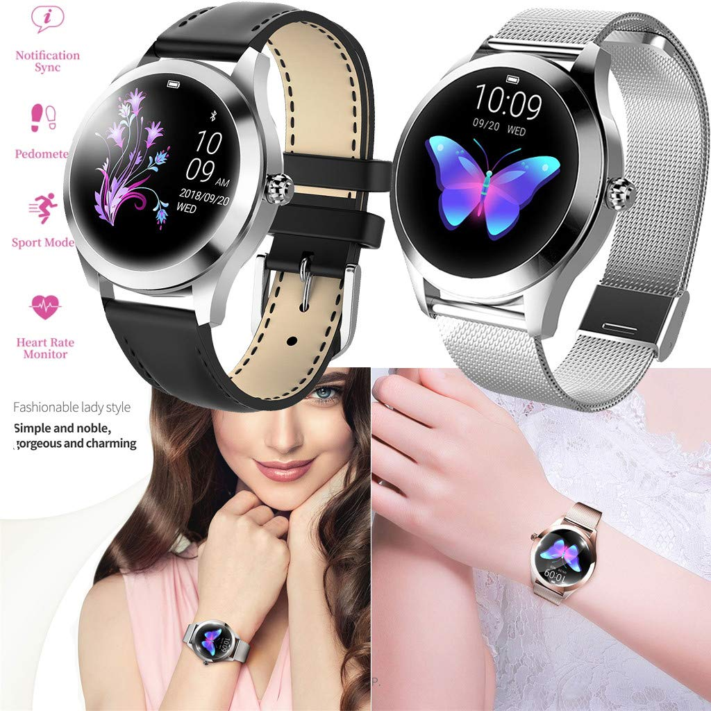 YNAA KW10 IP68 Waterproof Heart Rate Monitoring Bracelet Fitness Smart Watch for Android iOS (Black) by YNAA (Image #7)