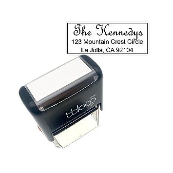 Custom Sello Autoentintable incluye tinta. Grabado con láser - 2 Lines: Amazon.es: Oficina y papelería