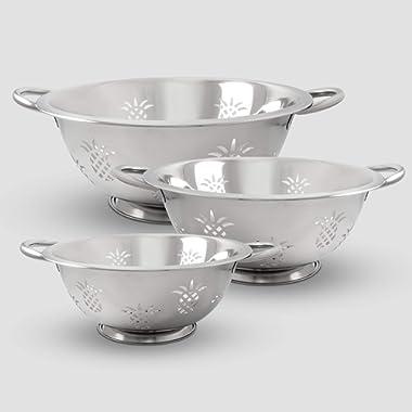 ExcelSteel 730 Resting Base, Dishwasher Safe Excellent for Vegetables, Salad, Fruit, Pasta Pineapple Colander, Stainless