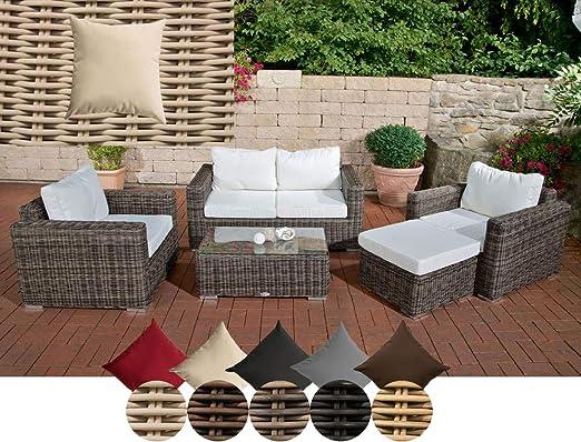 CLP Bilbao - Conjunto de muebles de jardín de polirratán con cojines acolchados, 1 sofá y 2 sillones, 1 mesa y 1 taburete de 5 mm de grosor, color crema y blanco perla: Amazon.es: Jardín