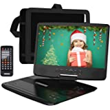 """HD JUNTUNKOR 12.5"""" Portable DVD Player with 5 Hrs Rechargeable Battery, Unique Design for Dual Use Purpose, 10.1"""" HD Swivel Screen, Car Headrest Case, Remote Control, Car Charger, USB/SD Card Reader"""