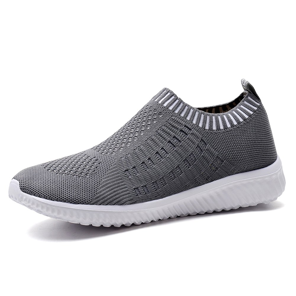 KONHILL Women's Lightweight Casual Walking Athletic Shoes Breathable Mesh Running Slip-on Sneakers B076Q5MD1J 6 B(M) US|6701 Dark Grey