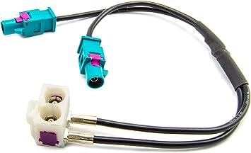 Watermark Wm 0061 Antennenadapter Doppel Fakra Buchse Weiß Auf 2x Fakra Stecker Z Kodiert Autoantenne Verteiler Universal Für Audi Seat Skoda Vw Rns Rcd Mfd Radio Auto